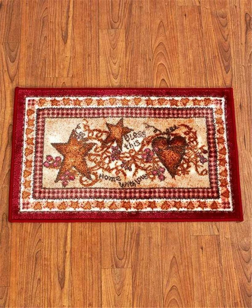 country charm hearts and stars bathroom soft nylon rug mat