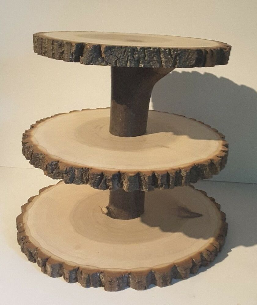 Rustic Wedding Wood Cake Stand: Rustic Wedding Cupcake Stand, Wood Slice Treat Display