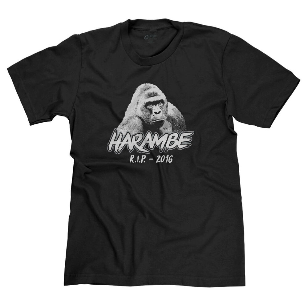 e30a4ccf7 Details about R.I.P. HARAMBE 2016 REST IN PEACE GORILLA LIVES MATTER  JUSTICE ZOO T-SHIRT TEE