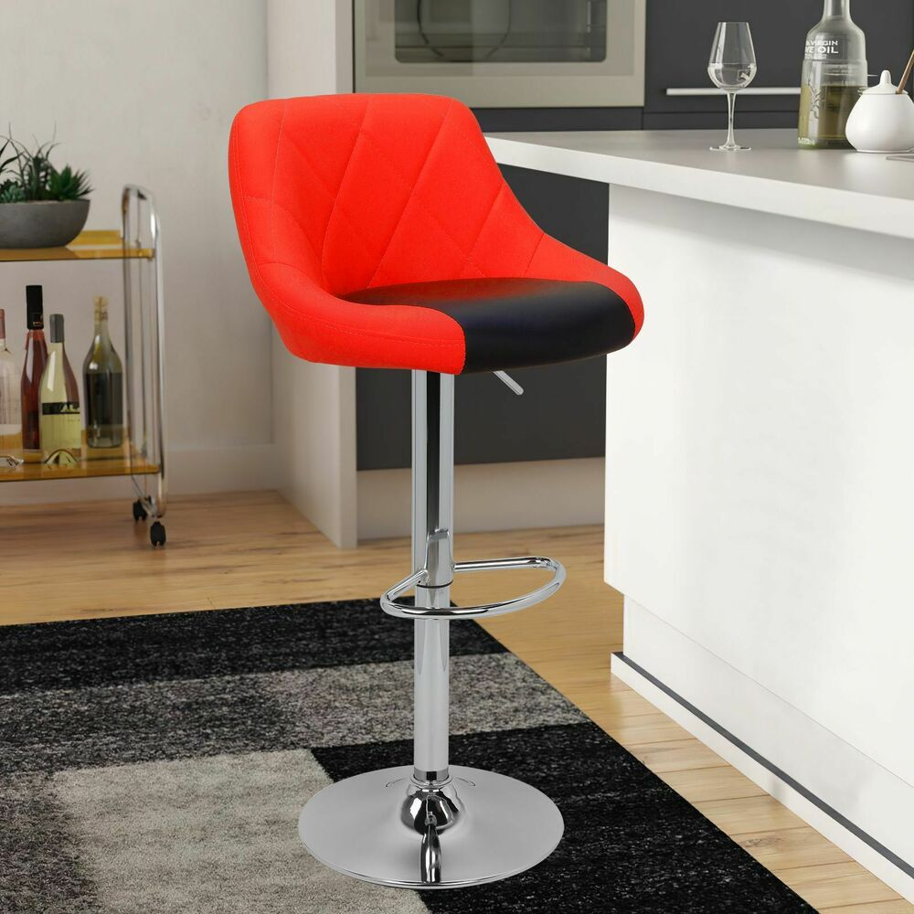 Modern Mixed Color Red Amp Black Bar Stool Chair Adjustable