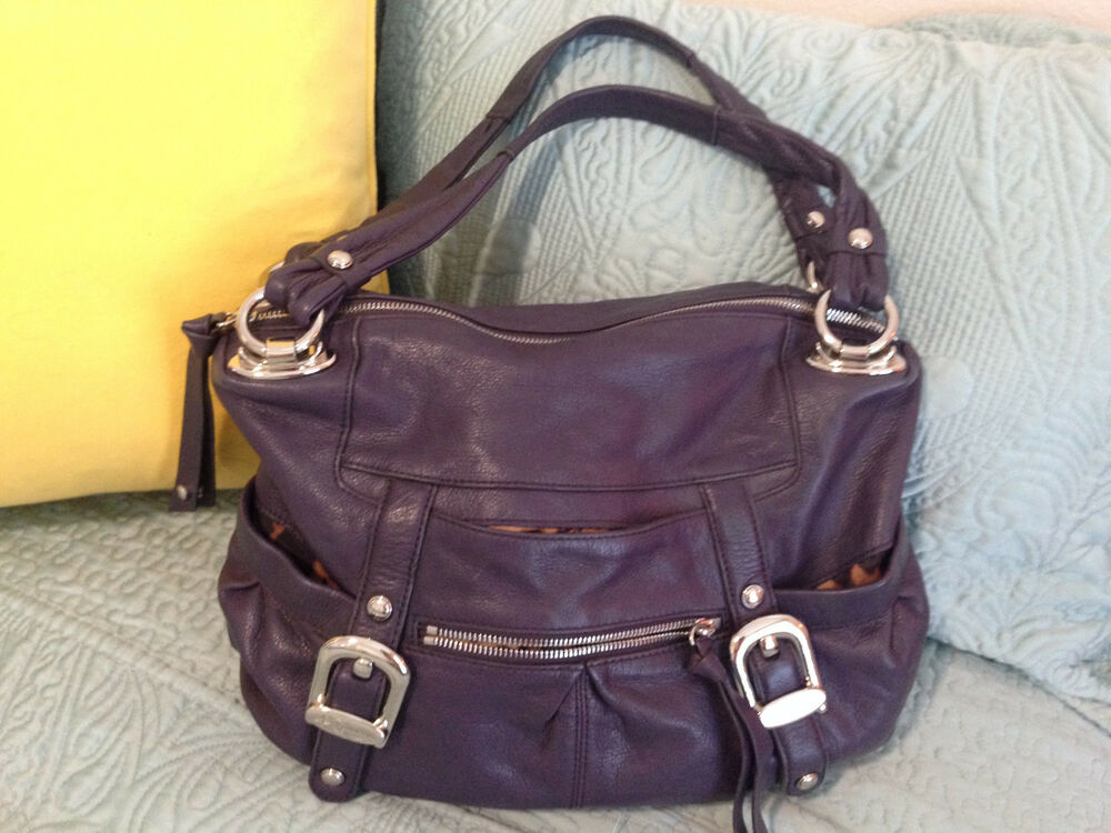 B Makowsky Large Eggplant Purple Leather Hobo Bag Purse Ebay