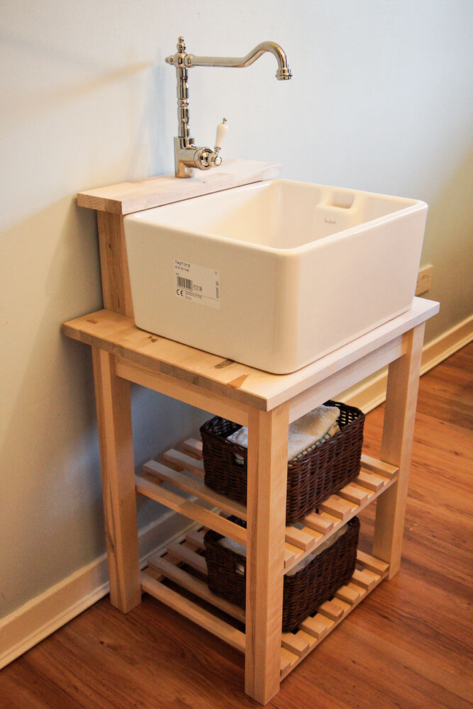 Belfast Sink Base Unit Stand With Tap Ledge Solid