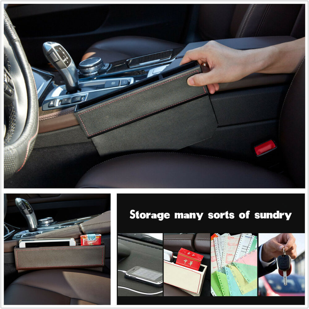 Truck Seat Organizer >> Leather Car Seat Gap Filler Car Seat Side Console Slit Caddy Catcher Storage Box 4683812026480 ...