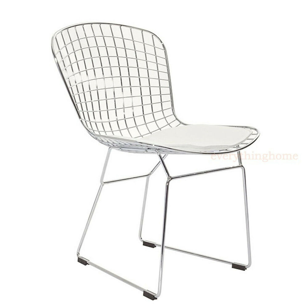Bertoia diamond chair dimensions - Bertoia Style Dining Side Chair Steel Wire Chrome Mesh White Pad 331 Lb Wt Rate