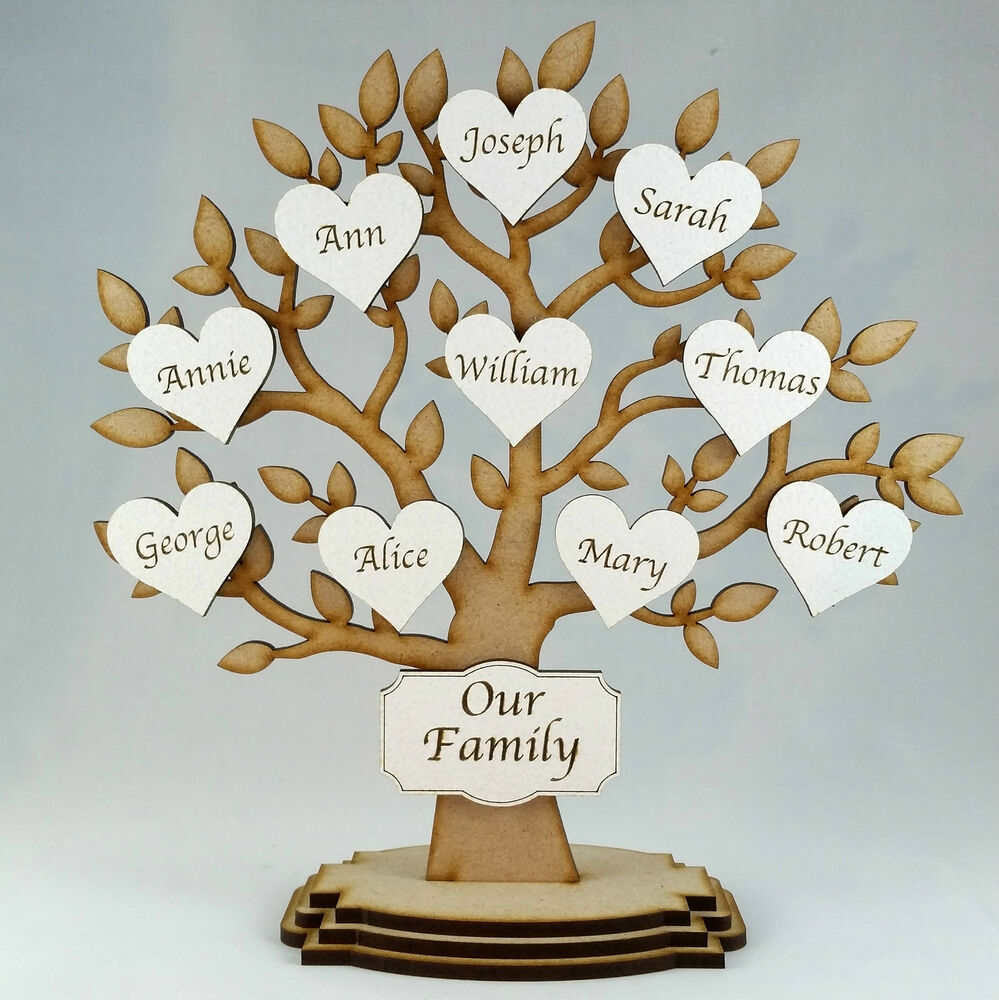 Personalised Wooden Family Tree Freestanding,Gift ...