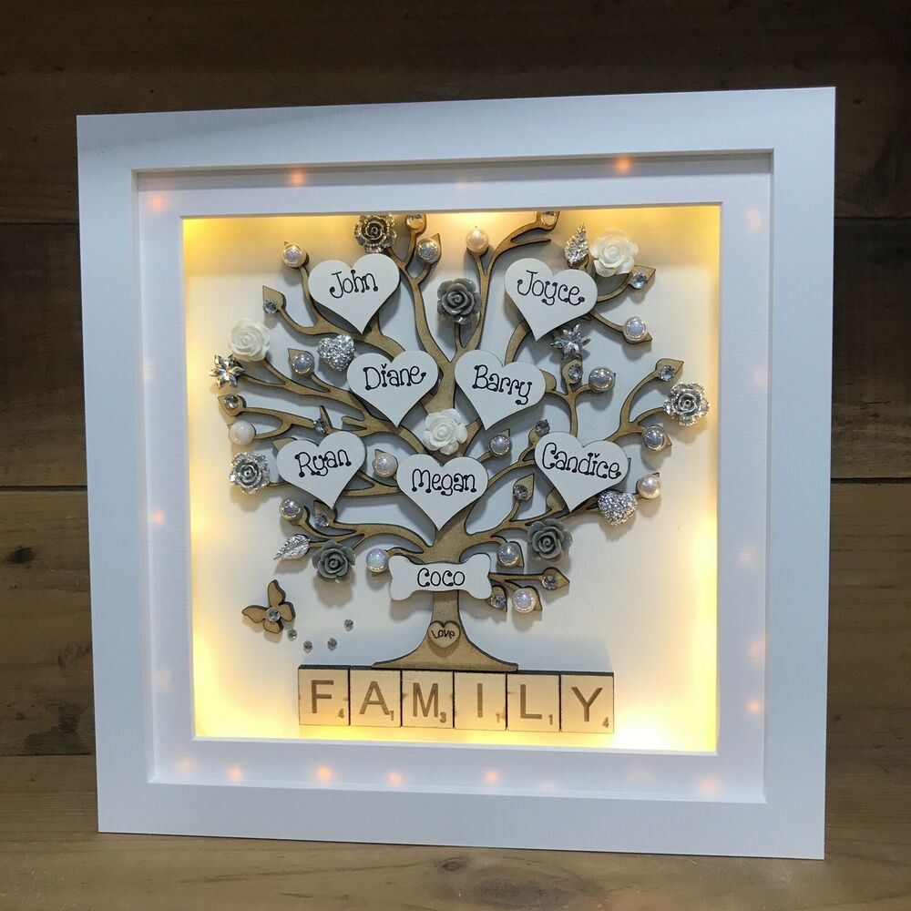 Christmas Tree Shop Picture Frames: Personalised LED Light Box Frame Family Tree New Baby Gift