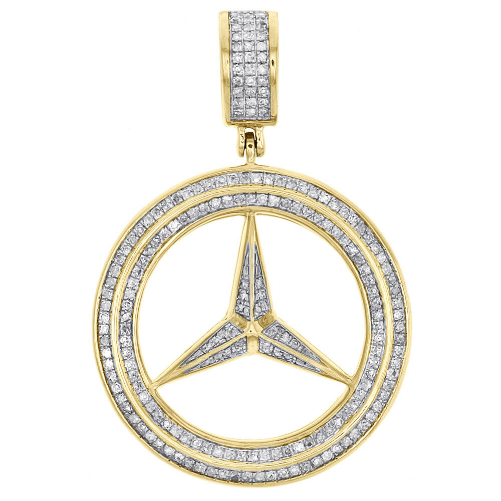 Men 39 s 10k yellow gold mercedes medallion real diamond for Mercedes benz charm