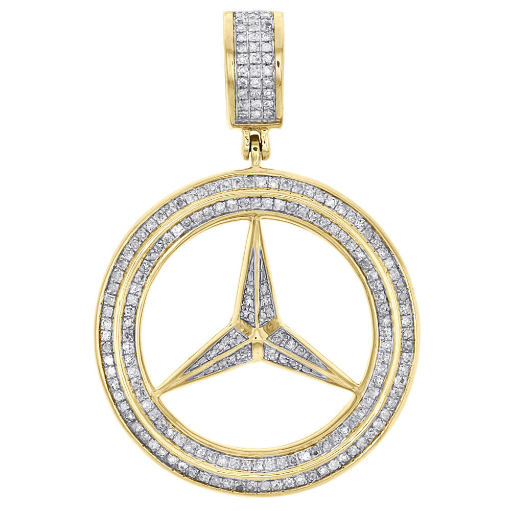 Men 39 s 10k yellow gold mercedes medallion real diamond for Mercedes benz pendant