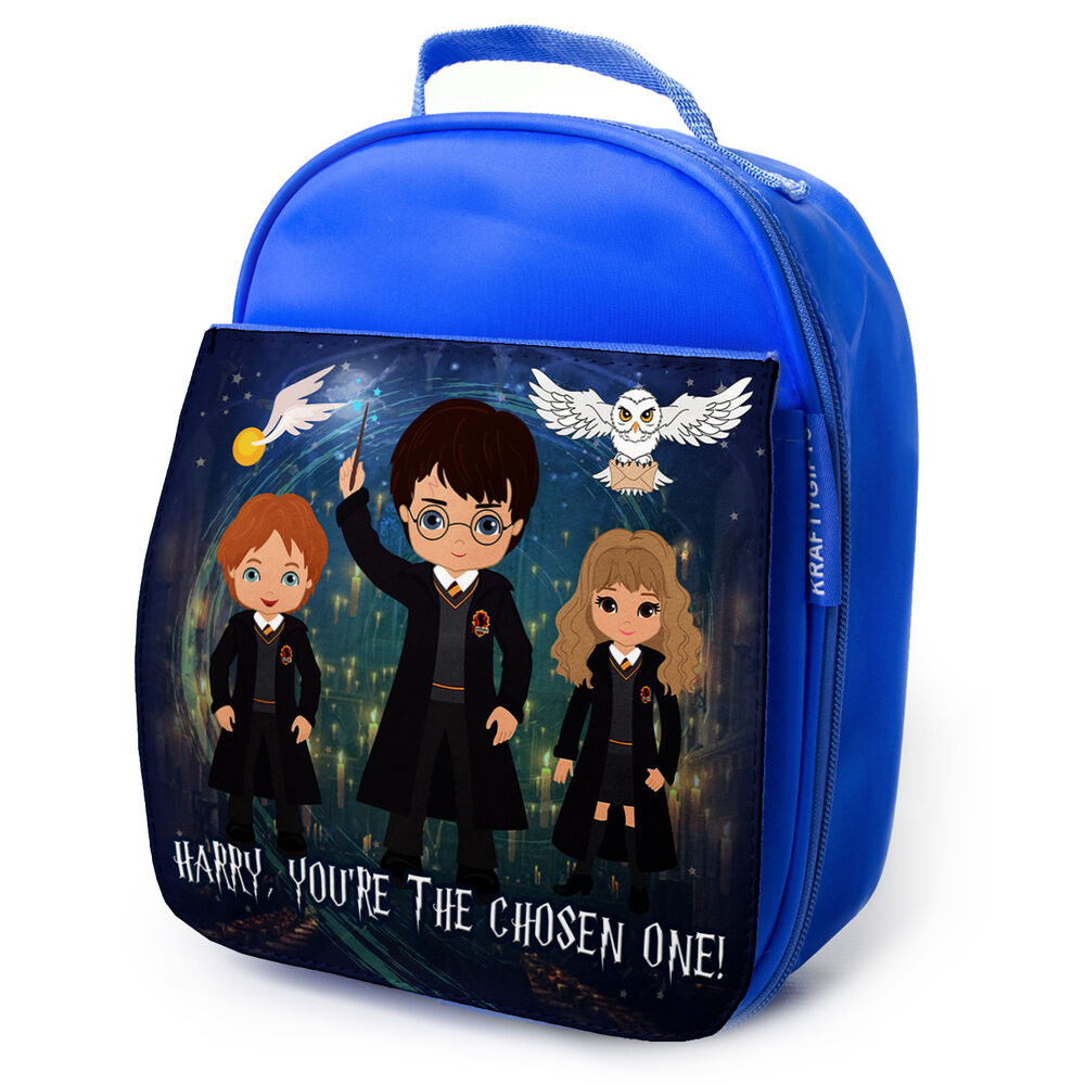 Personalised Lunch Bag Harry Potter Insulated Blue School