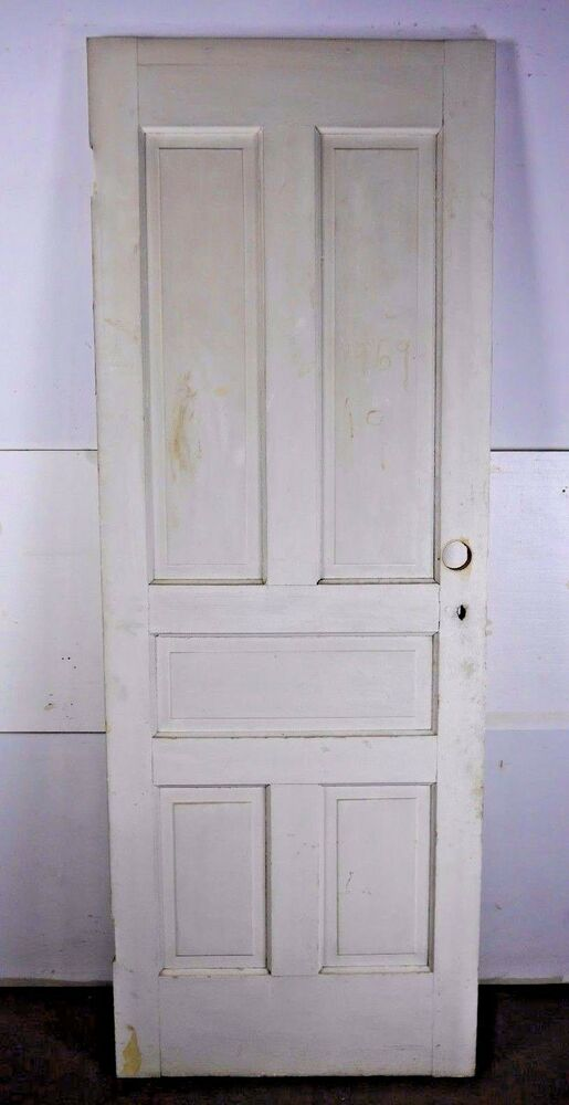 "Antique Vintage 5-Panel Interior Door 80"" X 29-1/4"" Early ..."