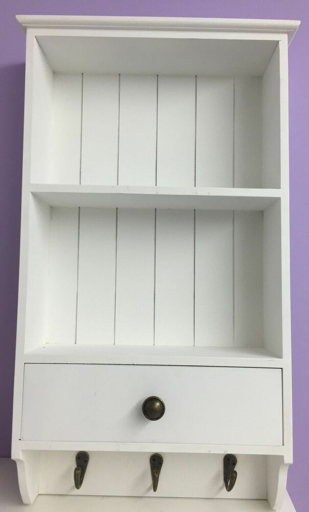 wall unit cupboard display white storage wooden shelf with hooks shabby chic new ebay. Black Bedroom Furniture Sets. Home Design Ideas