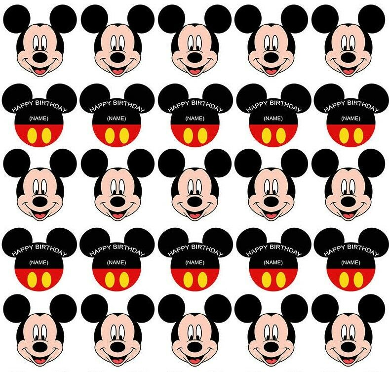 25 Mickey Mouse Edible Wafer Card Paper Cupcake Cake ...Mickey Mouse Cupcake Toppers