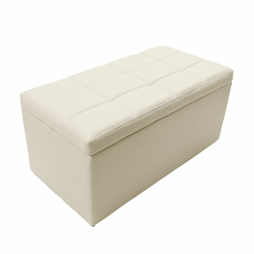 Ivory Faux Leather Storage Foot Rest Lift Top Bench