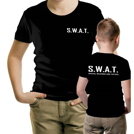 img-Kid Childrens Military Black Fancy Dress Police Swat T-Shirt Party Costume Top