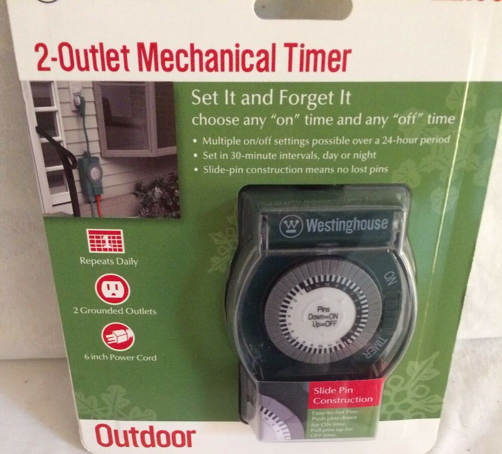 WESTINGHOUSE 2 GROUNDED OUTLET MECHANICAL TIMER SET IT AND
