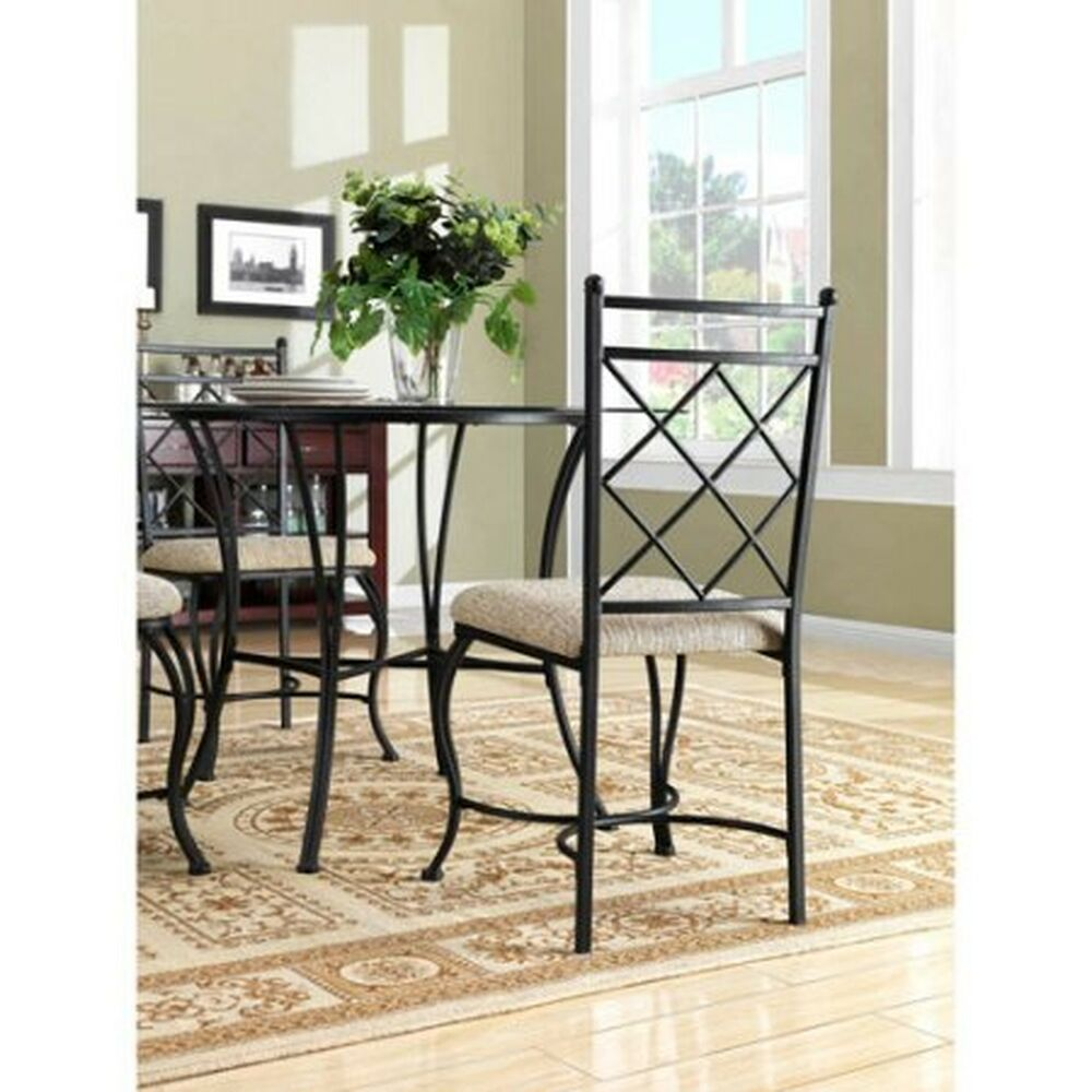 Mainstays 5 Piece Glass Top Metal Dining Set Table Chairs