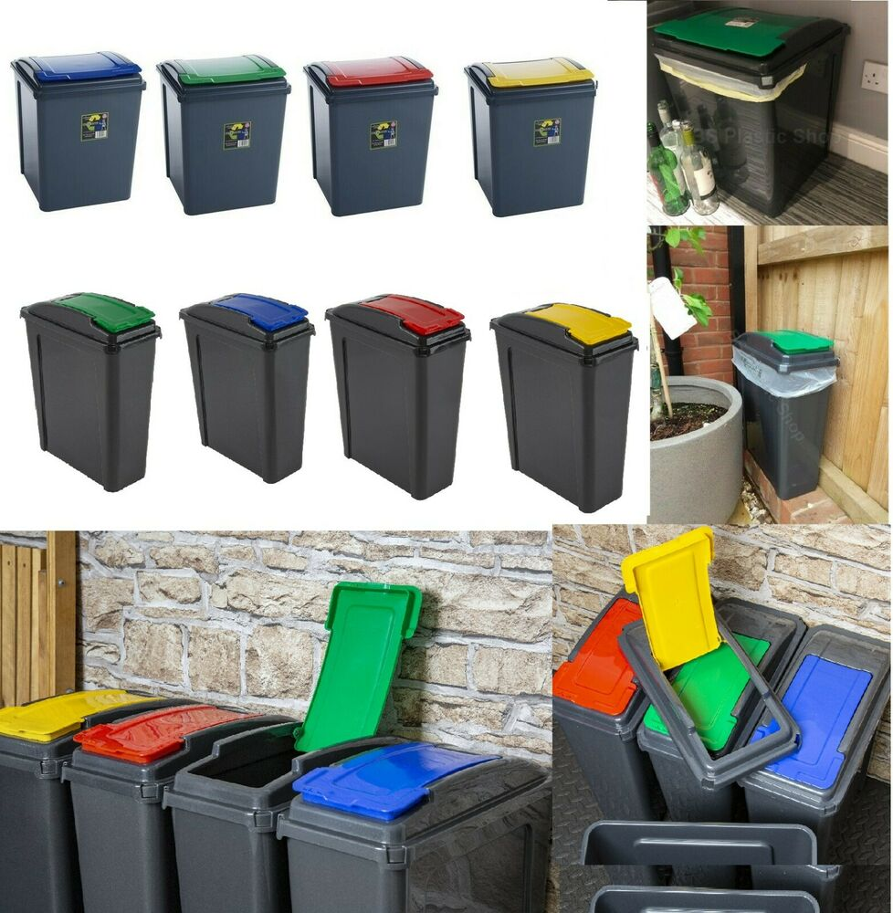 recycle bin 25l 50l plastic waste bin recycle dustbin garden home office new ebay. Black Bedroom Furniture Sets. Home Design Ideas