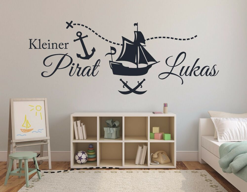 wandtattoo name kinderzimmer baby jungen piratenschiff kleiner pirat namen pkm69 ebay. Black Bedroom Furniture Sets. Home Design Ideas