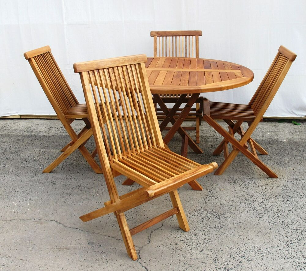 Teak timber outdoor setting round table and 4 folding chairs ebay - Round teak table and chairs ...