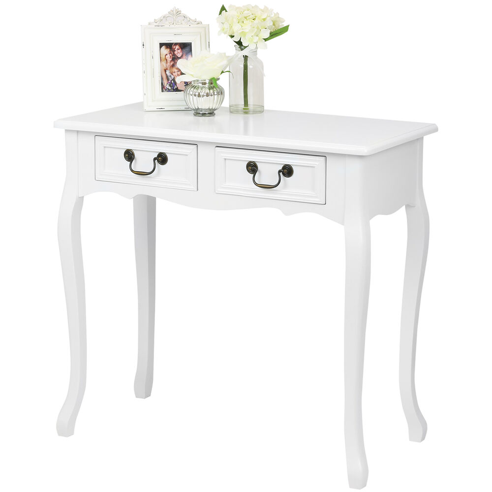 hartleys white french shabby chic 2 drawer hallway console vanity