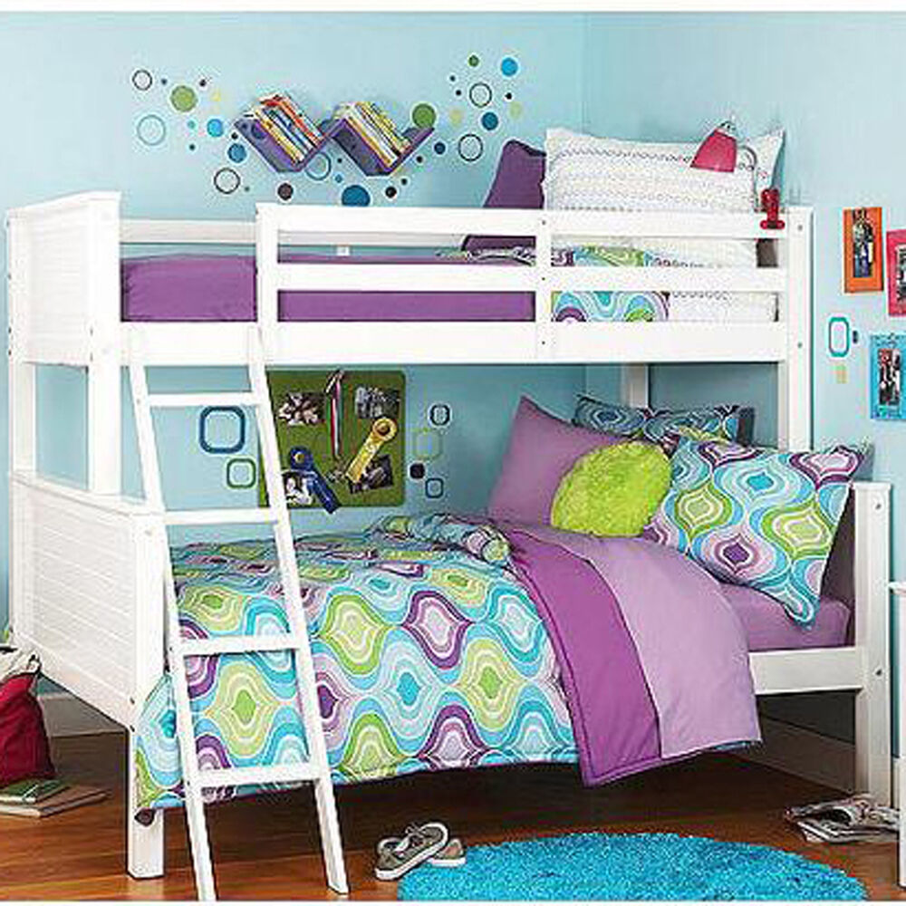 Bunk beds twin over full white wood bed ladder girls boys Bunk bed boys room