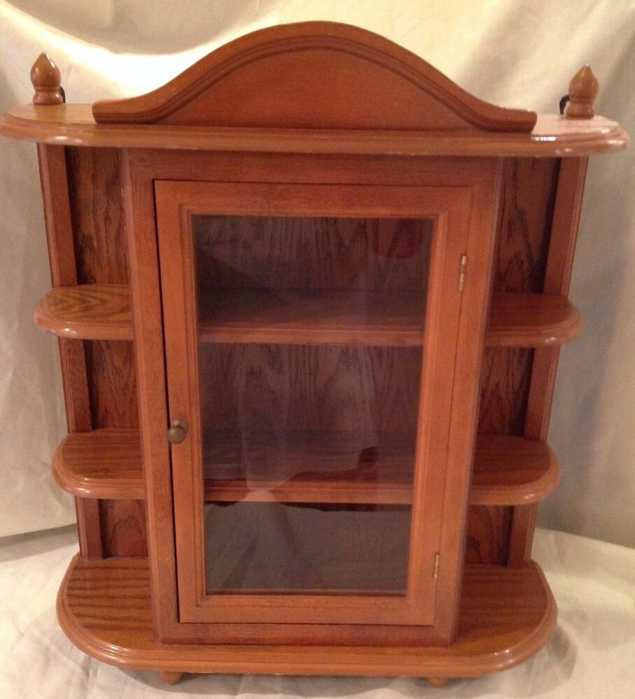 Vintage Large Wood Display Case Table Wall Hang Glass