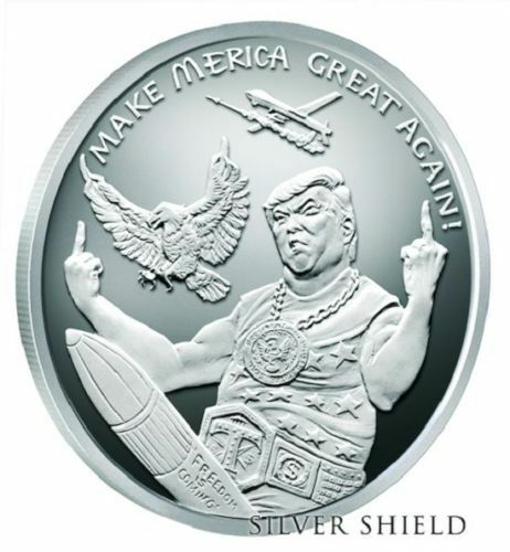 Donald Trump 1 Oz 999 Silver Shield Proof Quot Moar Merica