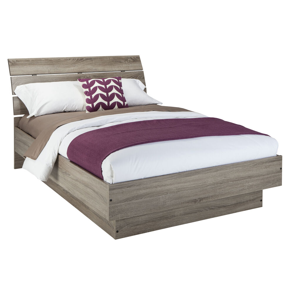 platform bed frame queen size with headboard modern panel