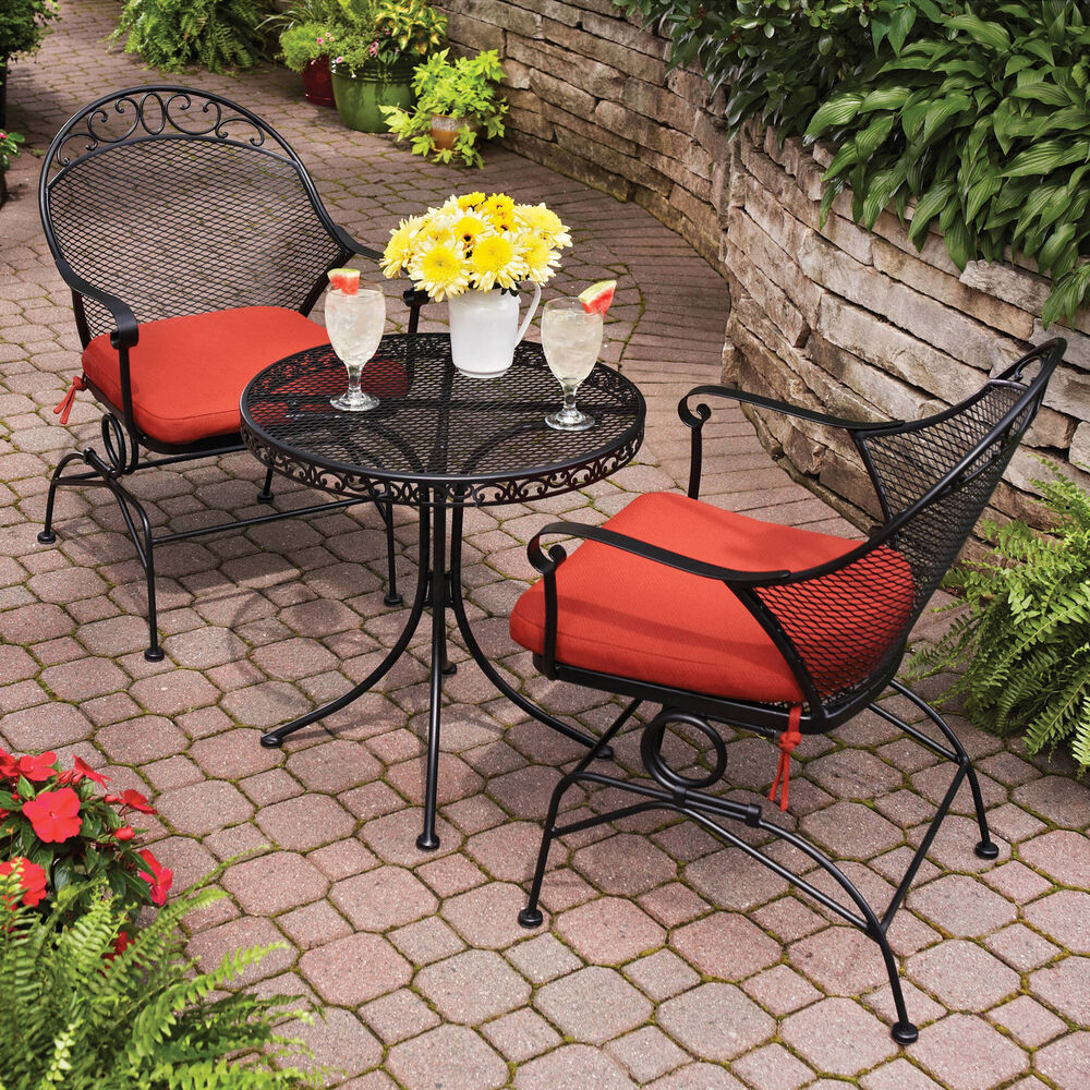 Outdoor Patio Furniture For Small Deck: Patio Furniture Set Red 3 Piece Outdoor Bistro Table Chair