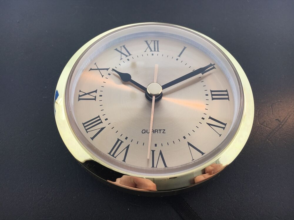 Quartz Clock Battery Fit Up Insert Roman Gold Face