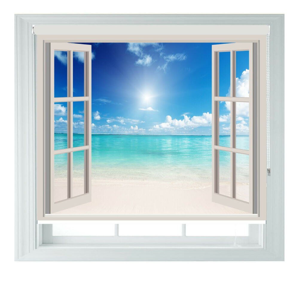 Window Beach Sea View Printed Photo Black Out Roller