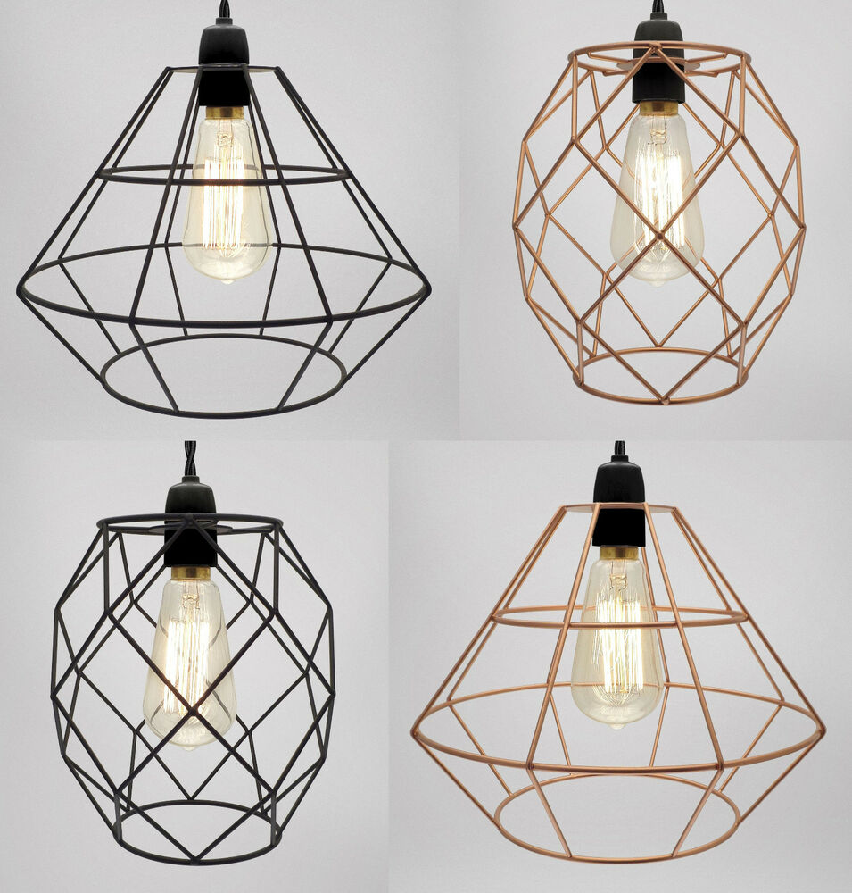 Metal Wire Frame Light Shade Industrial Ceiling Loft