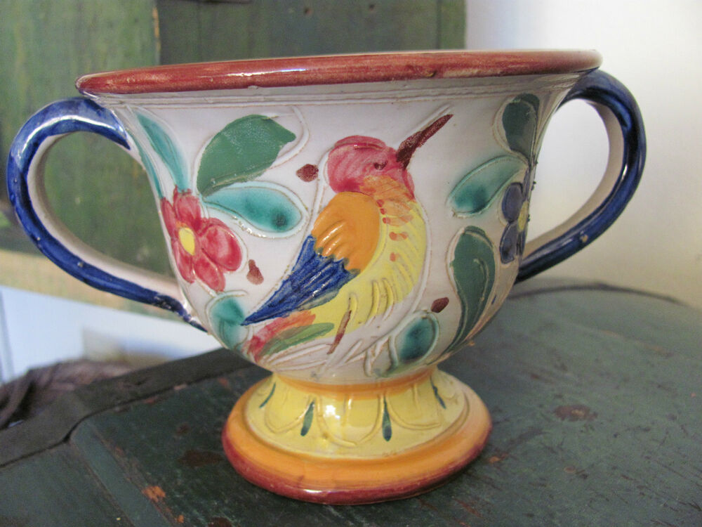 Vintage Pottery Vase Urn Made In Italy Bird And Flower