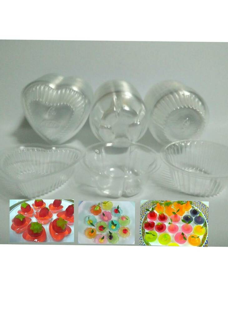 100 disposable cups clear plastic jelly container heart for Small plastic cups