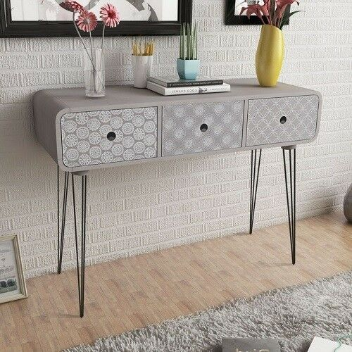 Foyer Table Hairpin Legs : Bedroom dressing cabinet console table grey hairpin legs