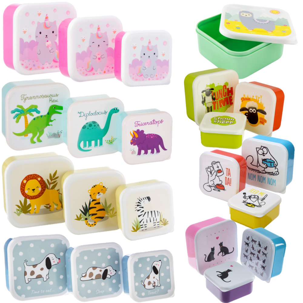 set of 3 childrens kids plastic snack lunch boxes sandwich food storage box ebay. Black Bedroom Furniture Sets. Home Design Ideas