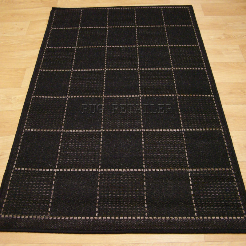 Checked Black Anti Slip Kitchen Rug / Mat 120x160cm