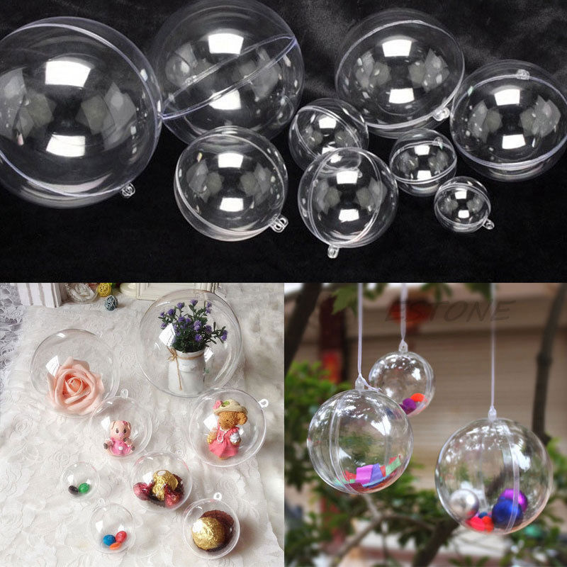 10pcs ball christmas baubles clear fillable xmas tree for Clear christmas bulbs for crafting