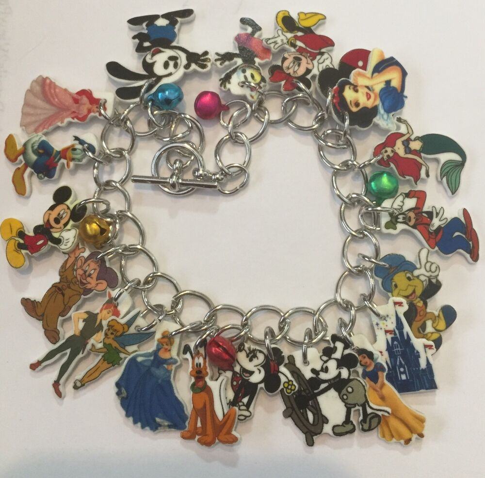 Tinkerbell Charm Bracelet: DISNEY CHARACTERS MICKEY TINKERBELL MANY MORE CHARMS