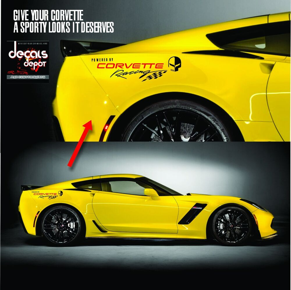 Corvette Racing 1 Pair Logo Vinyl Graphic Decals C3 C4 C5 C6 C7 Zo6 Zr1 Stingray Ebay