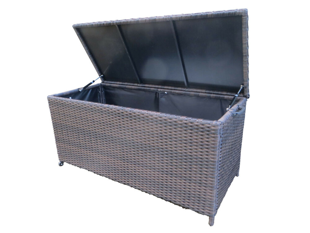 xl polyrattan auflagenbox store braun gartenbox kissenbox box kiste wetterfest ebay. Black Bedroom Furniture Sets. Home Design Ideas