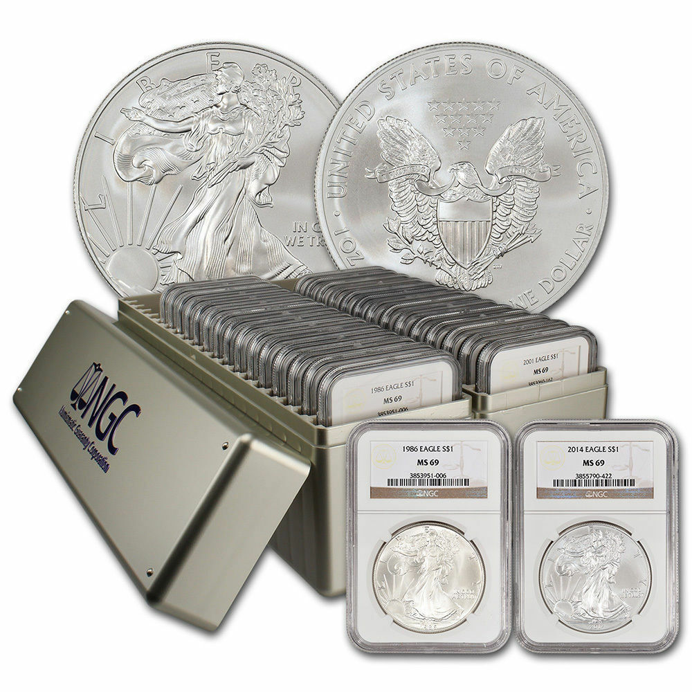 Complete Ngc Ms69 Silver Eagle Set 1986 2017 Ebay