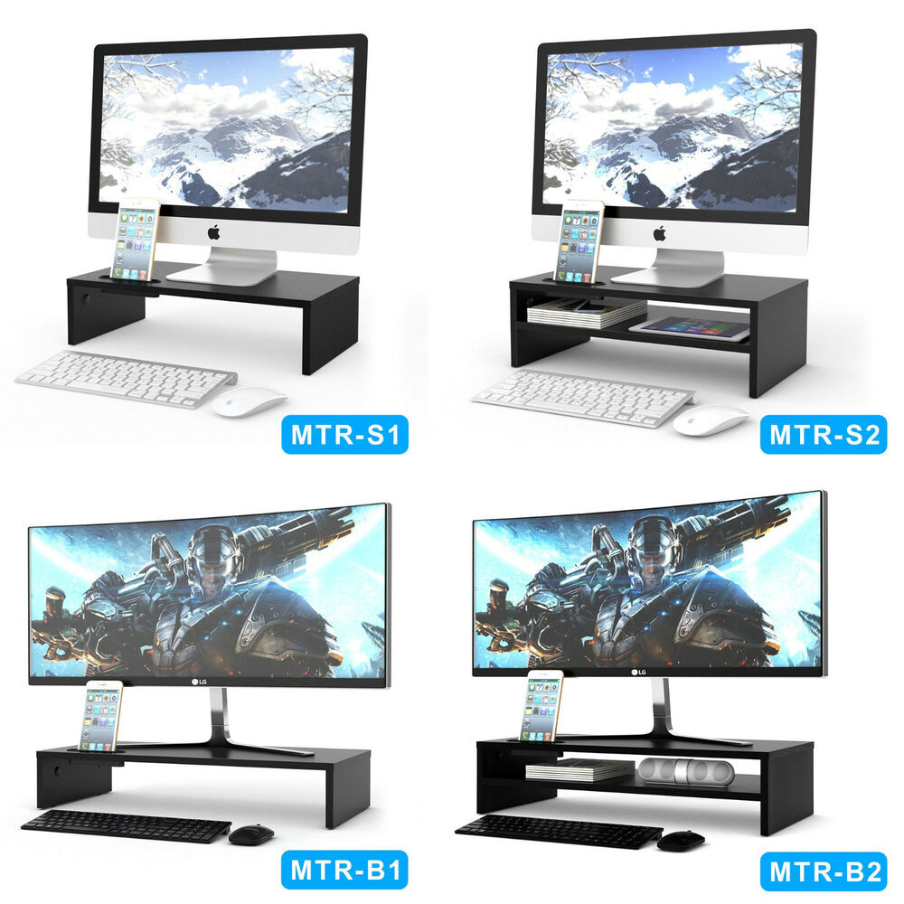 wood monitor stand speaker tv pc laptop computer screen riser desk storage black ebay. Black Bedroom Furniture Sets. Home Design Ideas