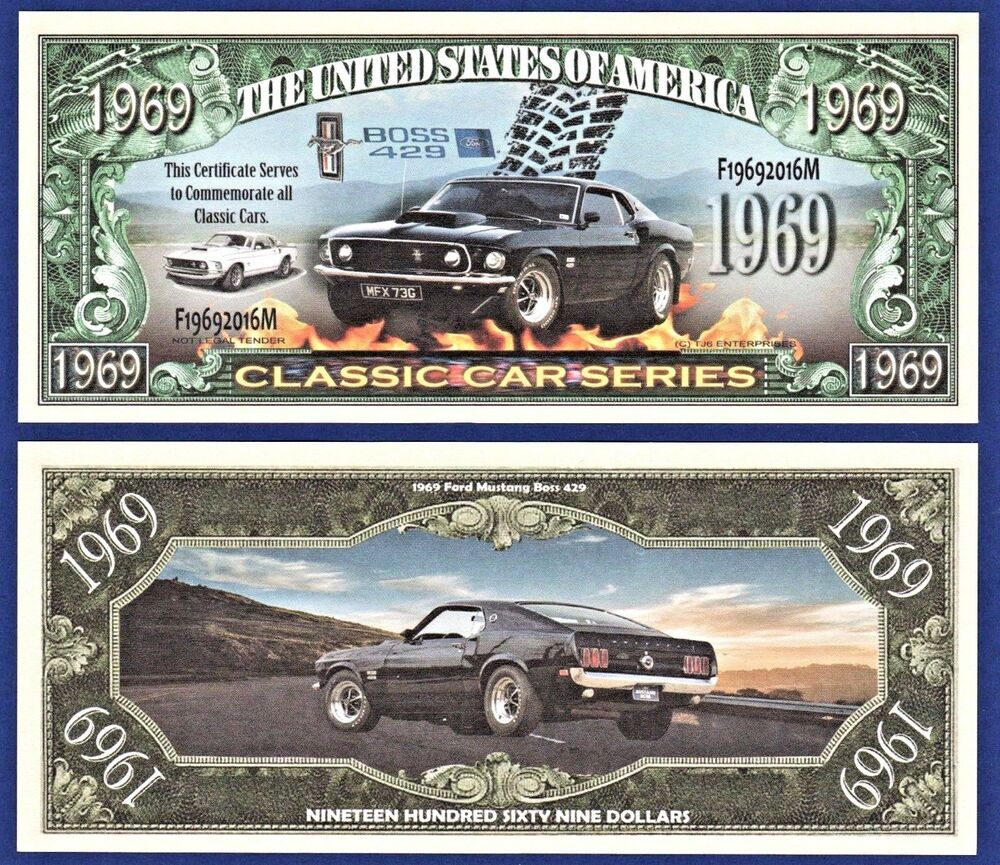 Details about 10 1969 ford mustang boss 429 dollar bills fast car collectible novelty d2
