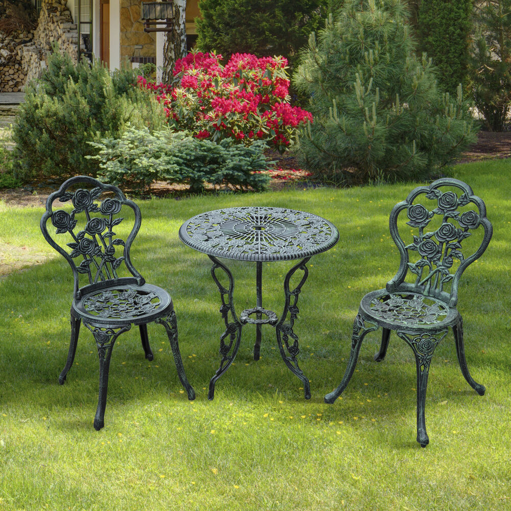 3pc bistro set table chairs patio furniture garden seat for Garden patio table
