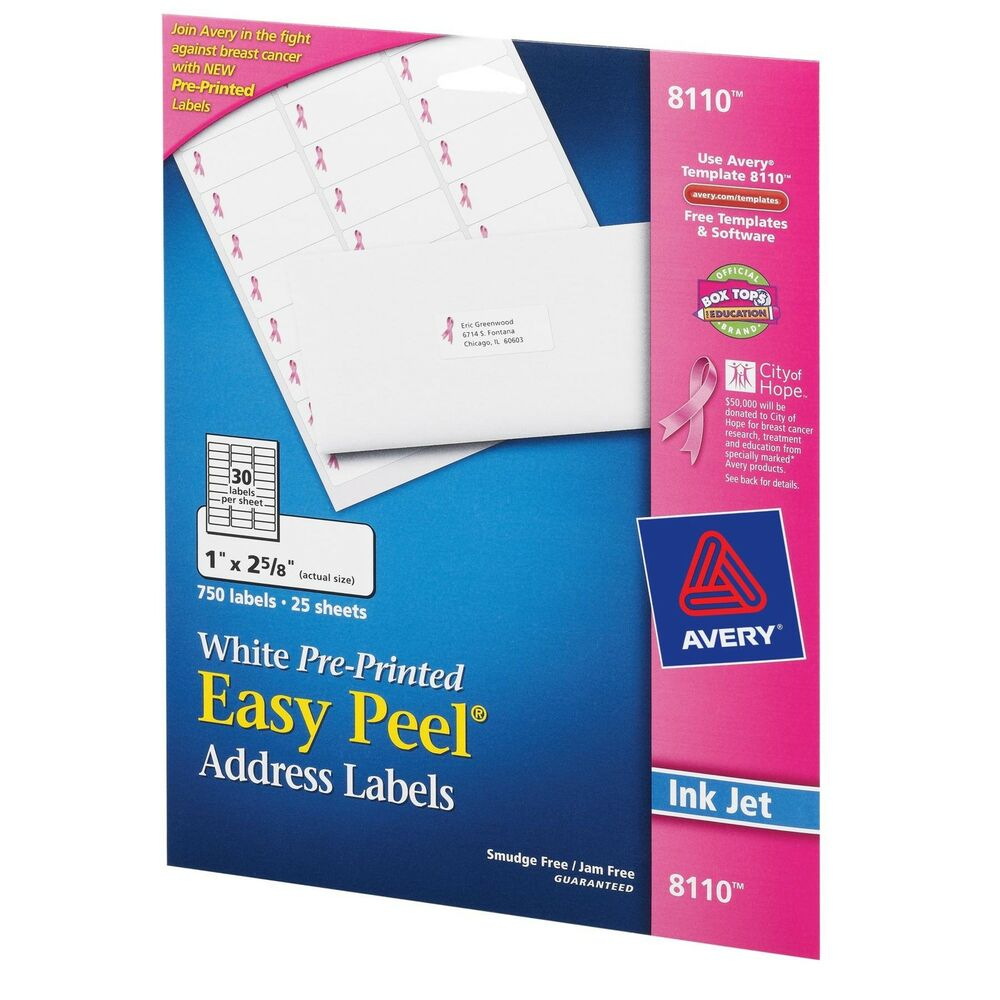 Avery Labels 8160 2250 Labels 75 Sheets Office: Avery 8110 White Address Labels Breast Cancer Awareness