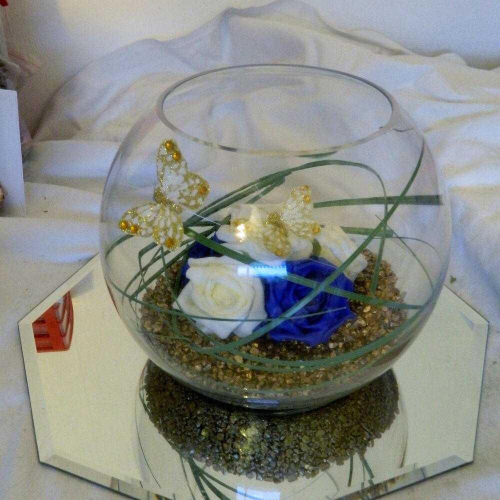 Stunning Wedding Flowers Guest Table Centerpiece Fish Bowl