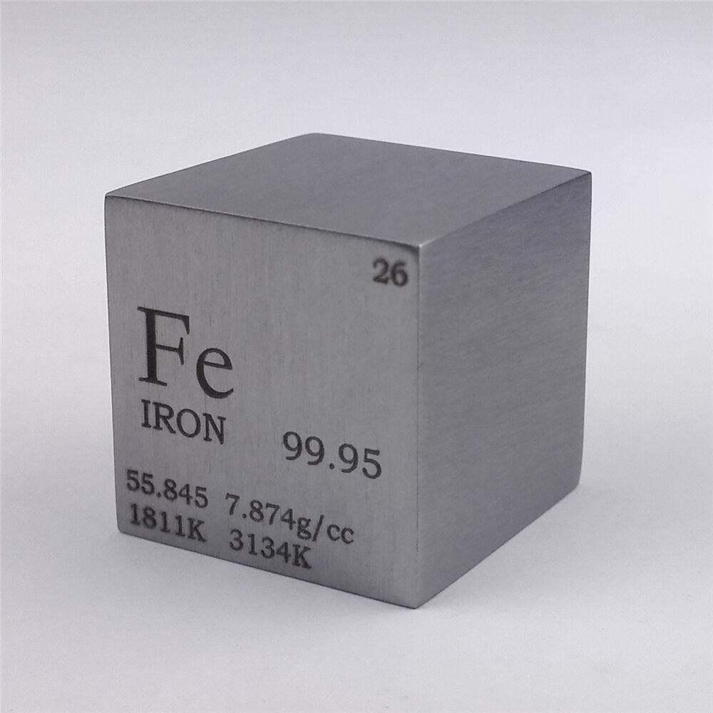1 Inch 25.4mm Pure Iron Metal Cube 128g 99.95% Engraved