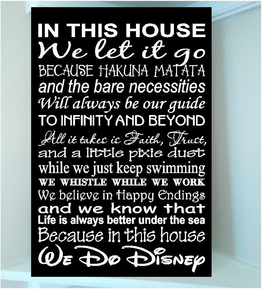 Wooden 8x12 sign w vinyl quote..In this house Disney ...