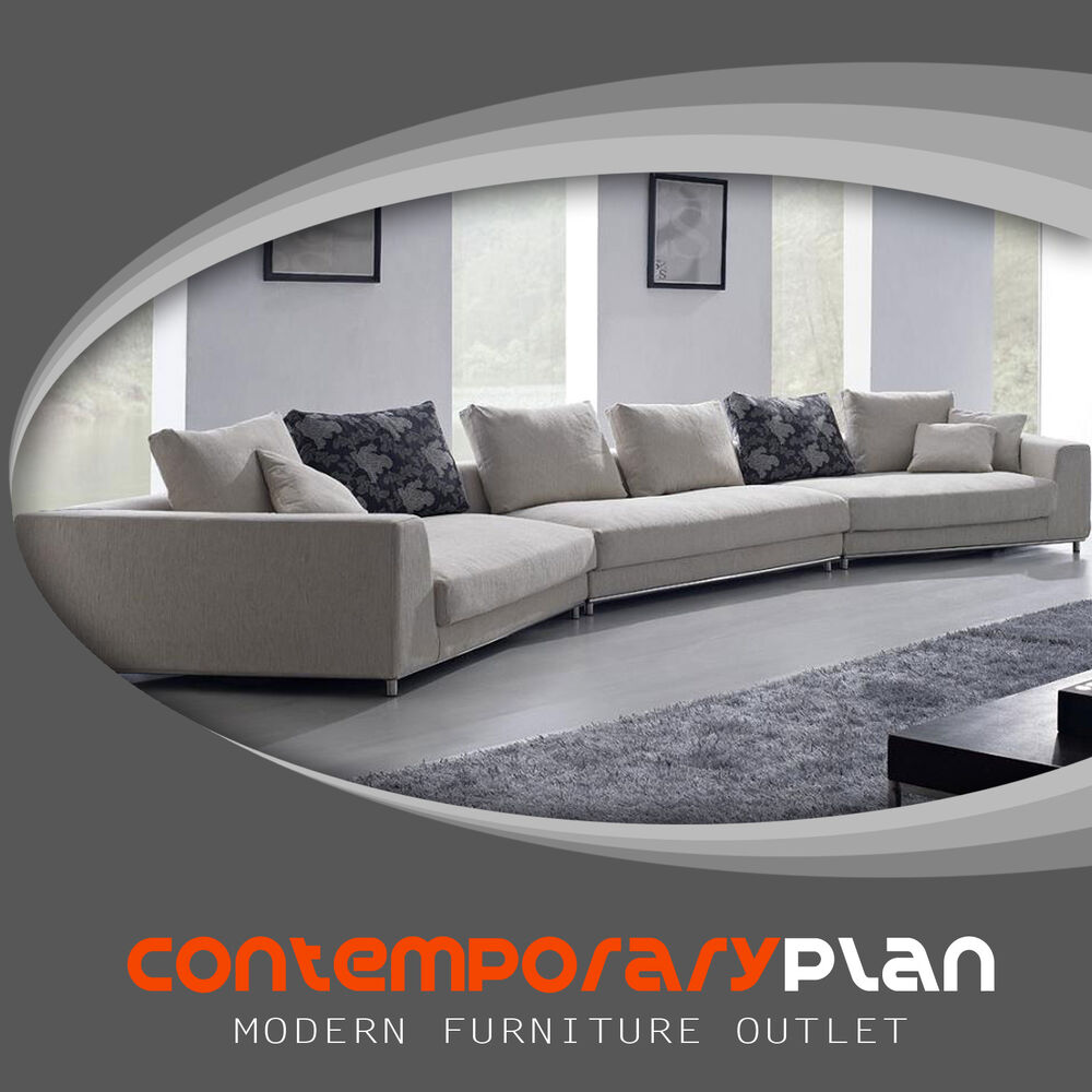 Contemporary Off White -Grey Fabric Sectional Sofa w ...